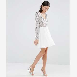 ASOS Long Sleeves White Skater Dress