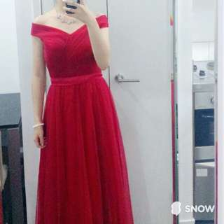 Red off-shoulder ball gown