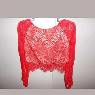 Red/burnt Orange Long Sleeve Lace Crop Top BMWT