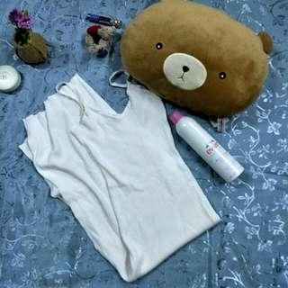 White Maxi Knitted Vneck Dress