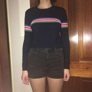Cropped Striped Navy Jumper