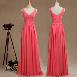 V-neck Sleeveless Coral Bridesmaid Dress - Chiffon Full Length Gown - Custom Sizes and Colours - AM040
