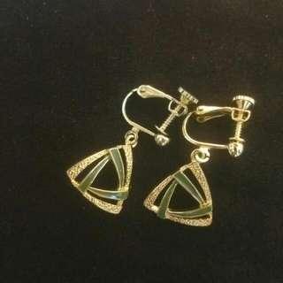 典雅綠幾何圖形耳環《耳夾式》