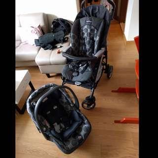 Peg Perego Pliko Four Stroller + Car Seat