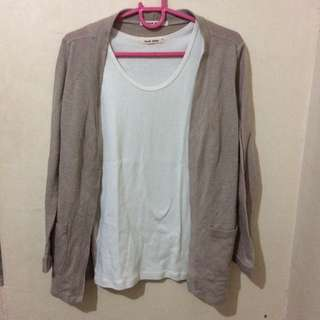 Brown Cardigan And White Tank Top