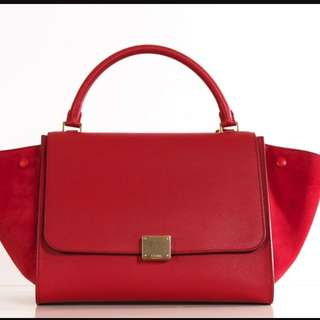 100% Authentic Celine Red Coral Trapeze Leather Shoulder Bag