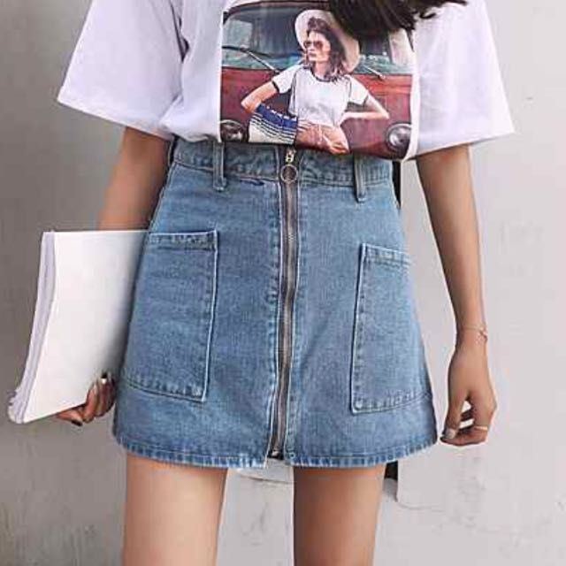 08b83dec1201 525 tumblr denim aline zip down skirt