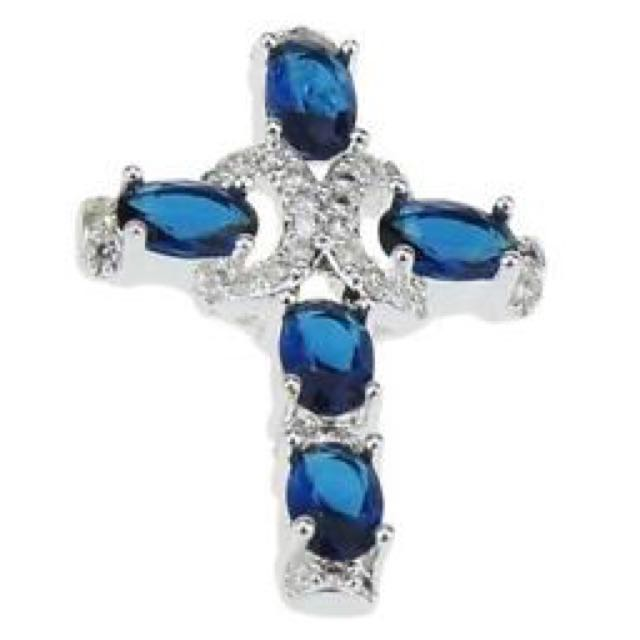 925 Sterling Silver Cross Sapphire Pendant Jewelry Necklace WITHOUT CHAIN