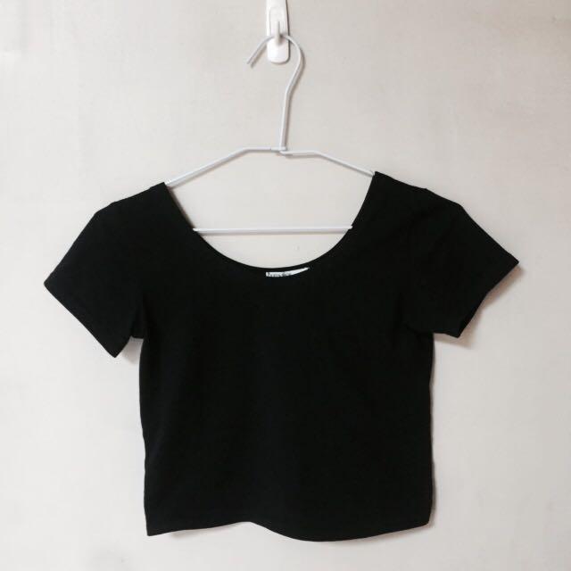 個性女短版上衣-黑