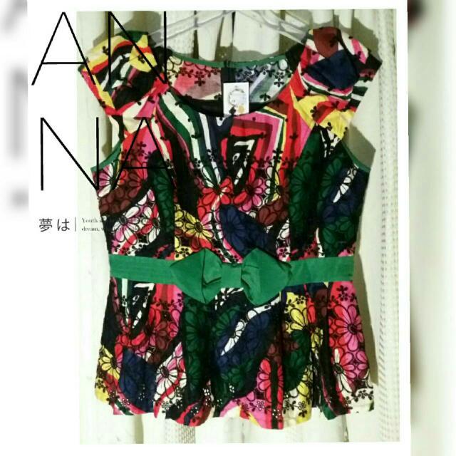 【智美精品屋】荷雅婷專櫃衣 全新品轉賣   短版無袖上衣  綠彩花