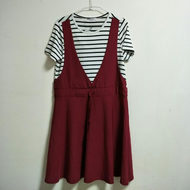 全新TOKYOFAHION  黑白條紋 酒紅裙 洋裝 東京著衣  #旺旺一路發