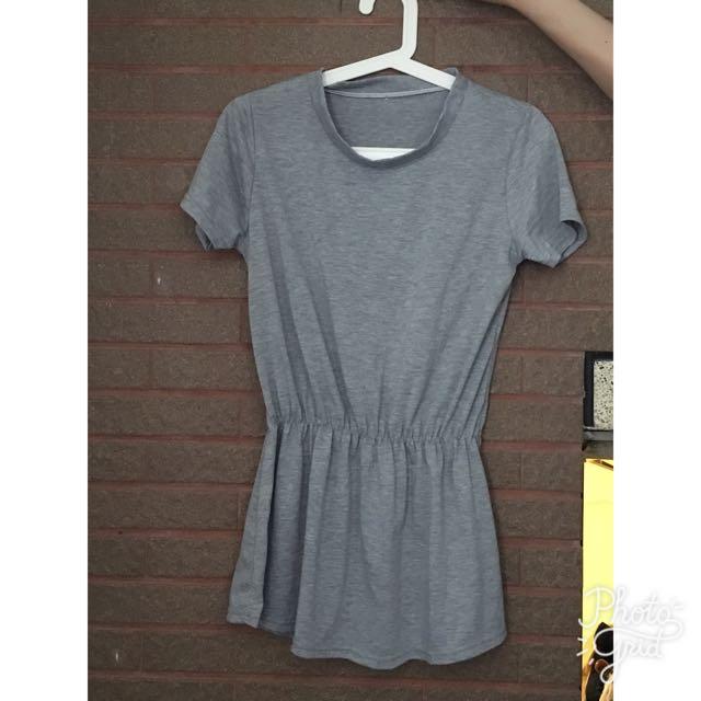 縮腰 連身 灰色 長版T 洋裝