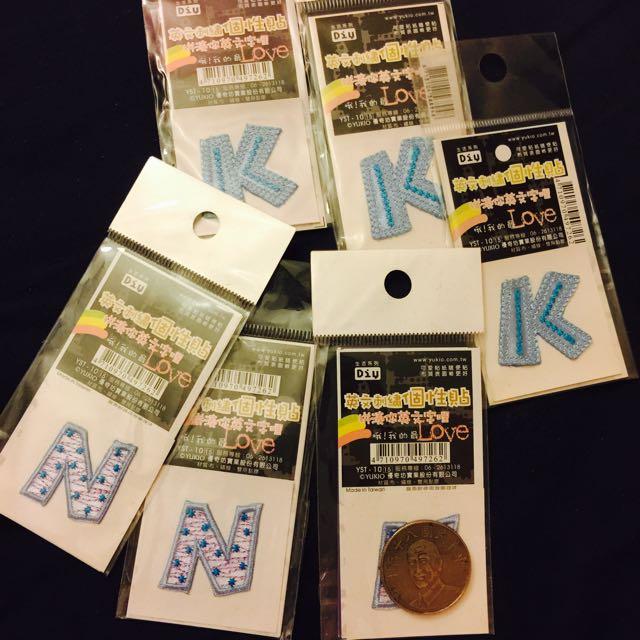 Ⓜ️英文字母 N、K 刺繡貼