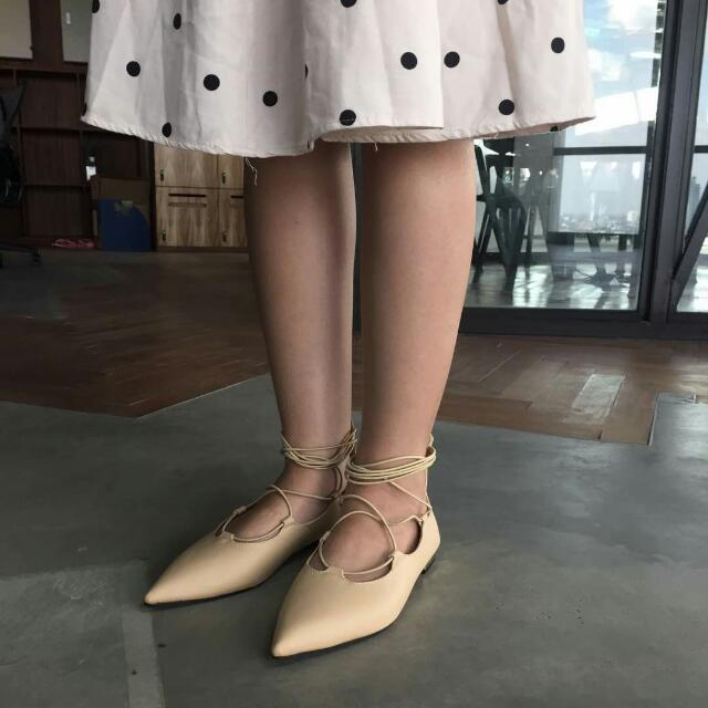 Ballerina Flat Shoes Khaki