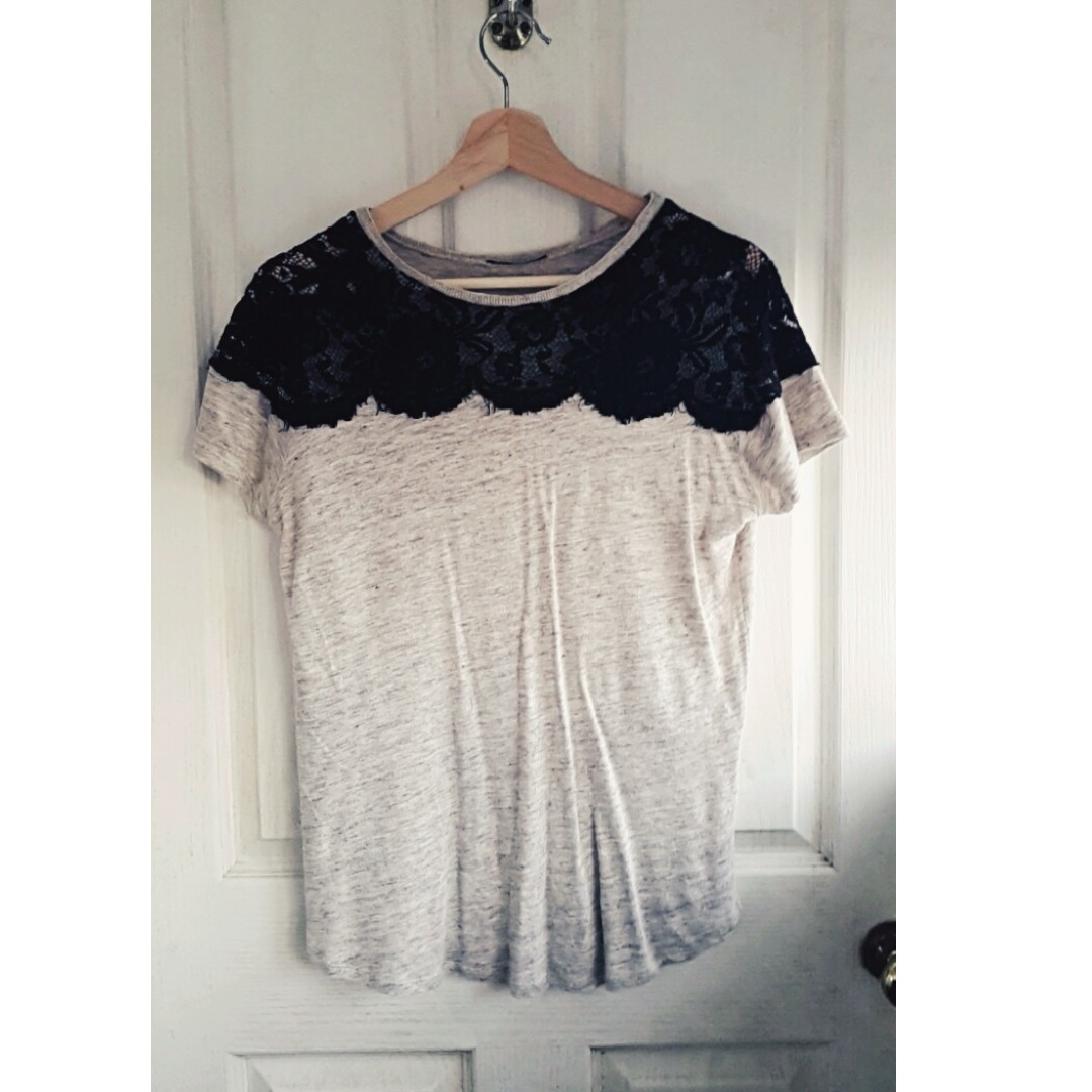 Beige ZARA T-shirt with black lace