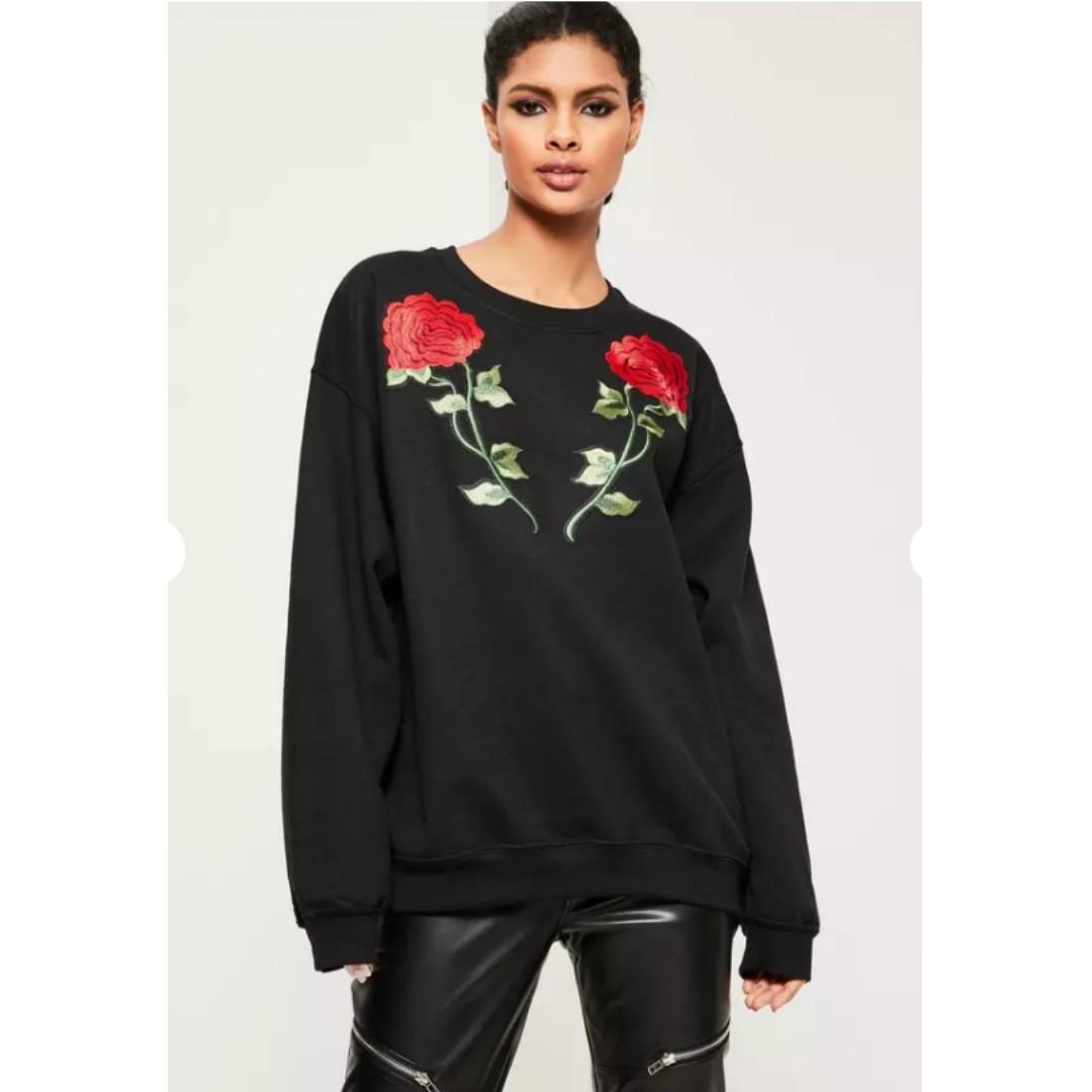 Black Applique Rose detail sweatshirt - Missguided