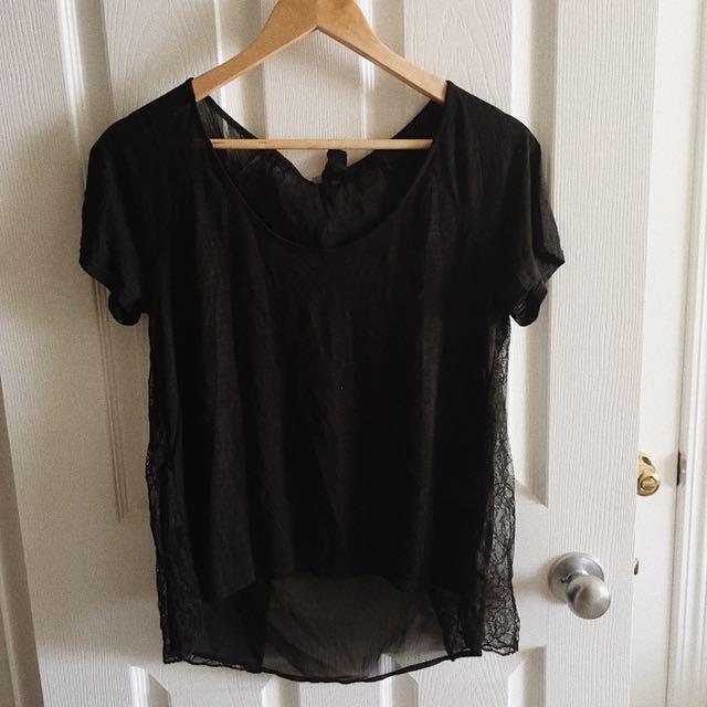 Black Lace Back T