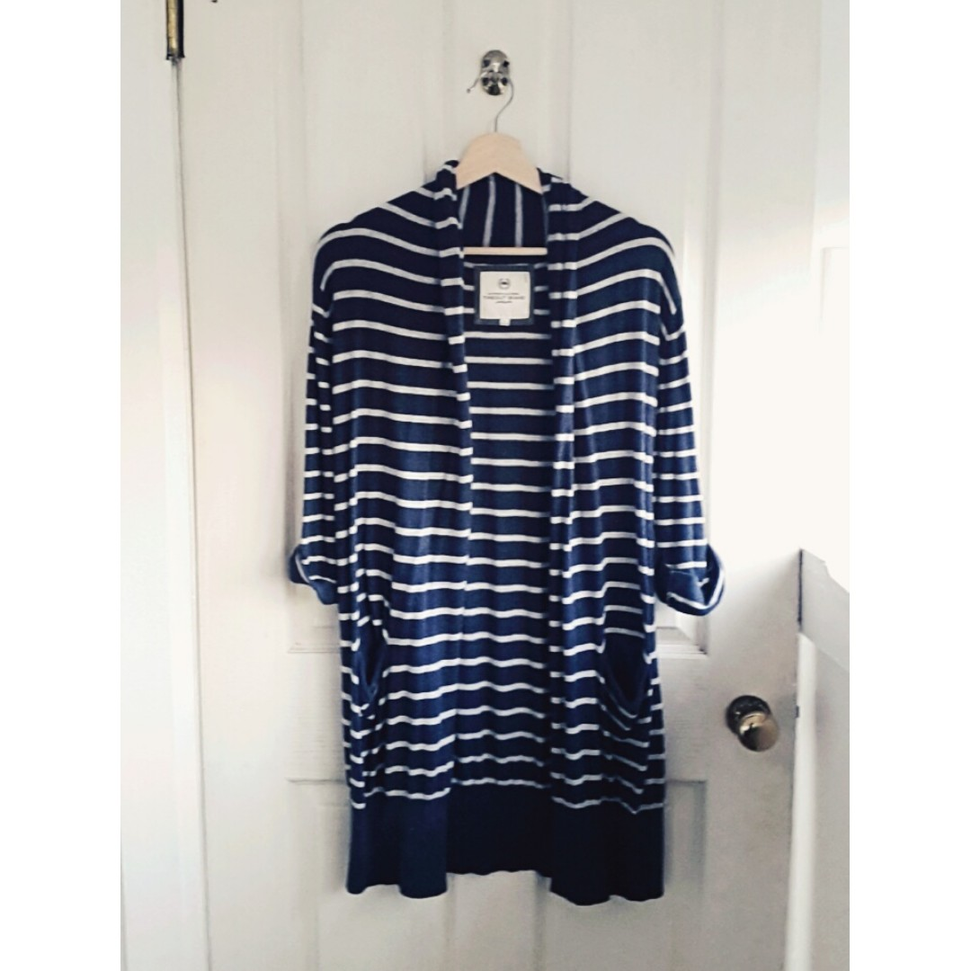 Blue & white stripped TIMEOUT sweater