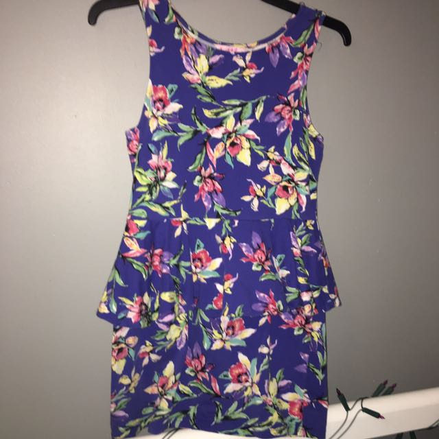 Blue Floral Peplum Dress Size L