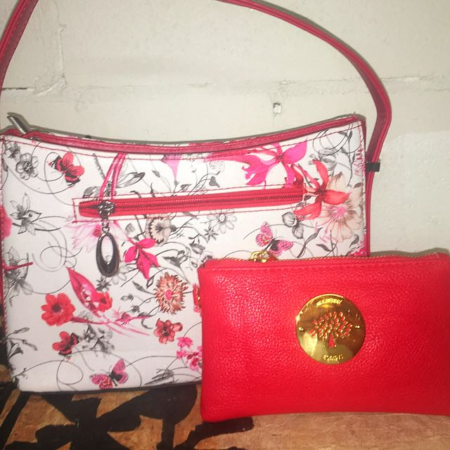 Brand New Red And White Floral Bag