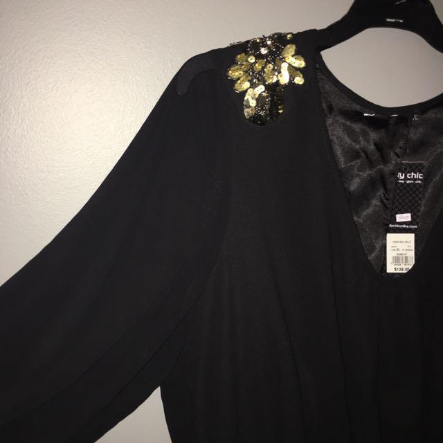 City Chic Black & Gold Dress