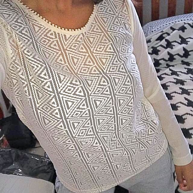 Cream Lace Long Sleeve Top Size 8