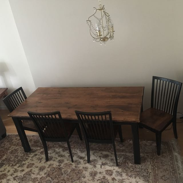 100% Solid Wood Dining Table With 4 Chairs And 1 Bench
