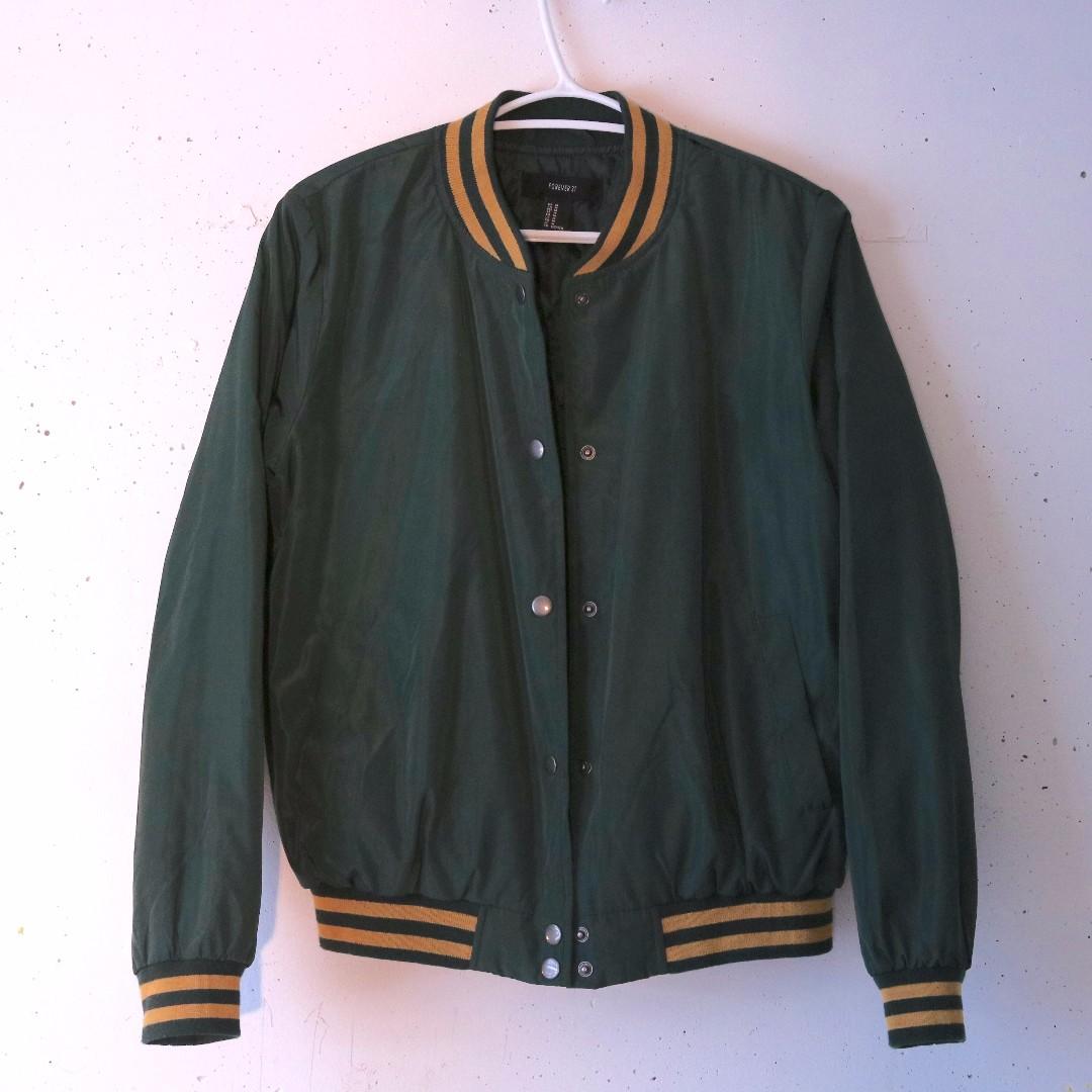 F21 Green Varsity Bomber Jacket