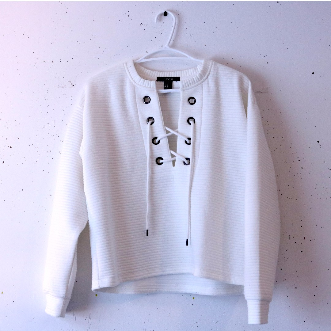 F21 Lace-up Front Sweatshirt
