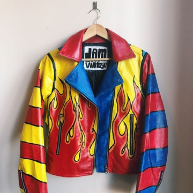 Flames Bombs Away Leather Jacket