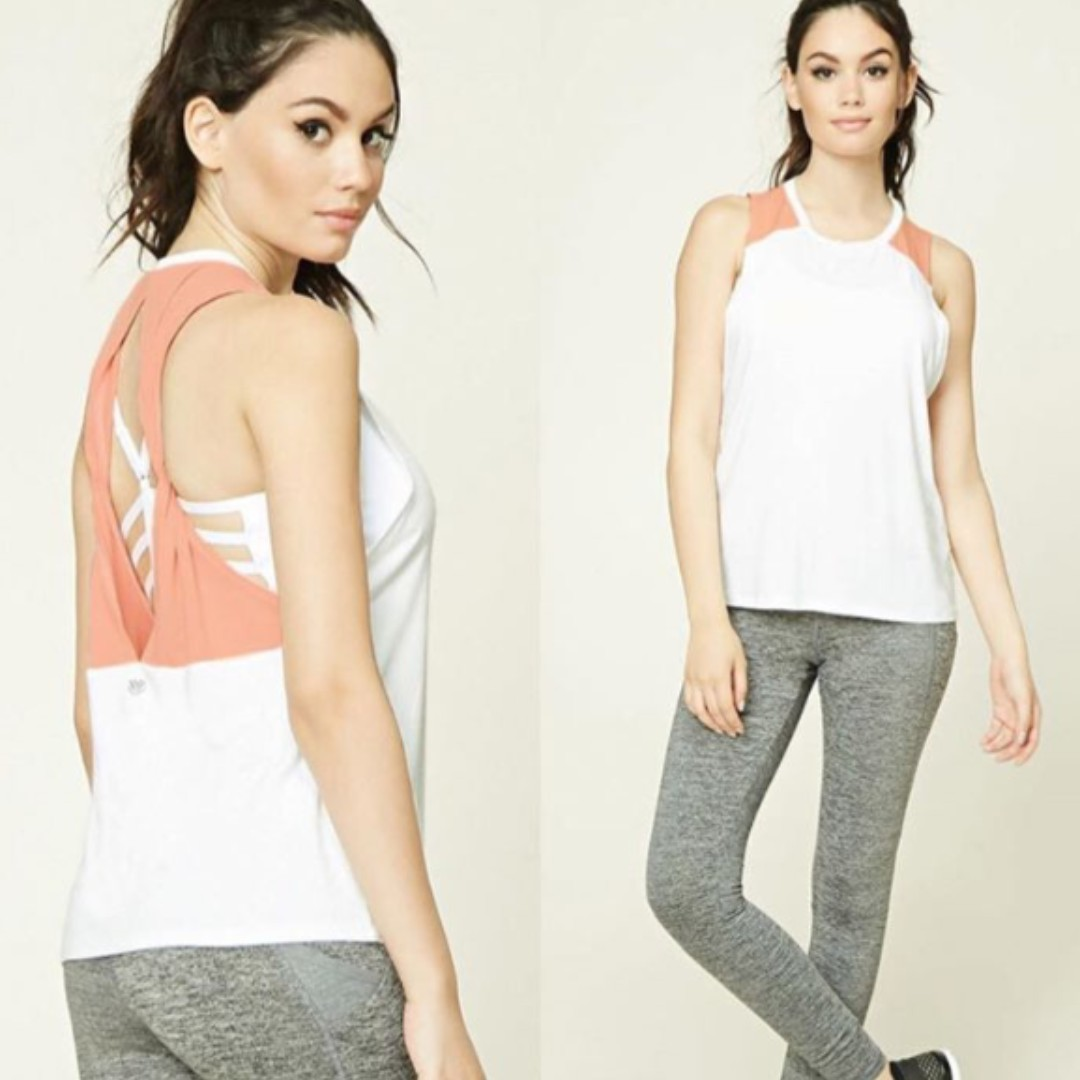Forever 21 Active Double Twisted Back Tank Top