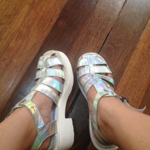 Fudge Rock Hologram Wedge Sandals