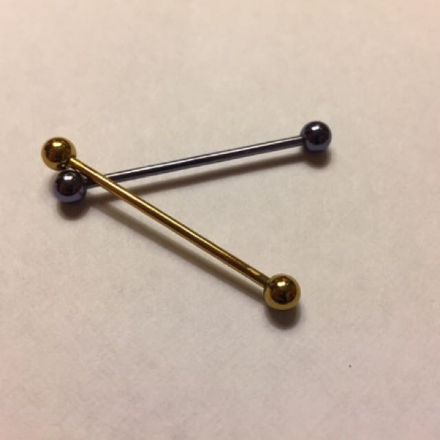 Gold & Purple Industrial Piercing barbell