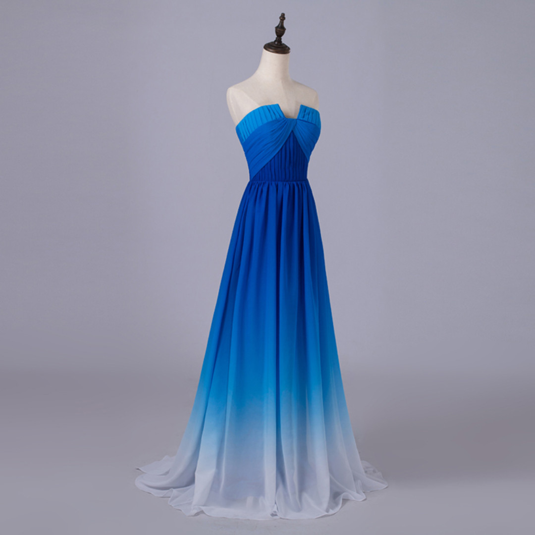Gradient ombré Blue Chiffon Long Strapless Bridesmaid Dress With Pleated Bodice Panel Watteau Train MS010