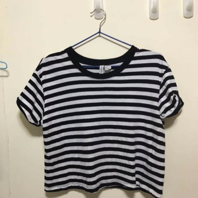 H&M DIVIDED 黑白短袖 Striped Crop Top