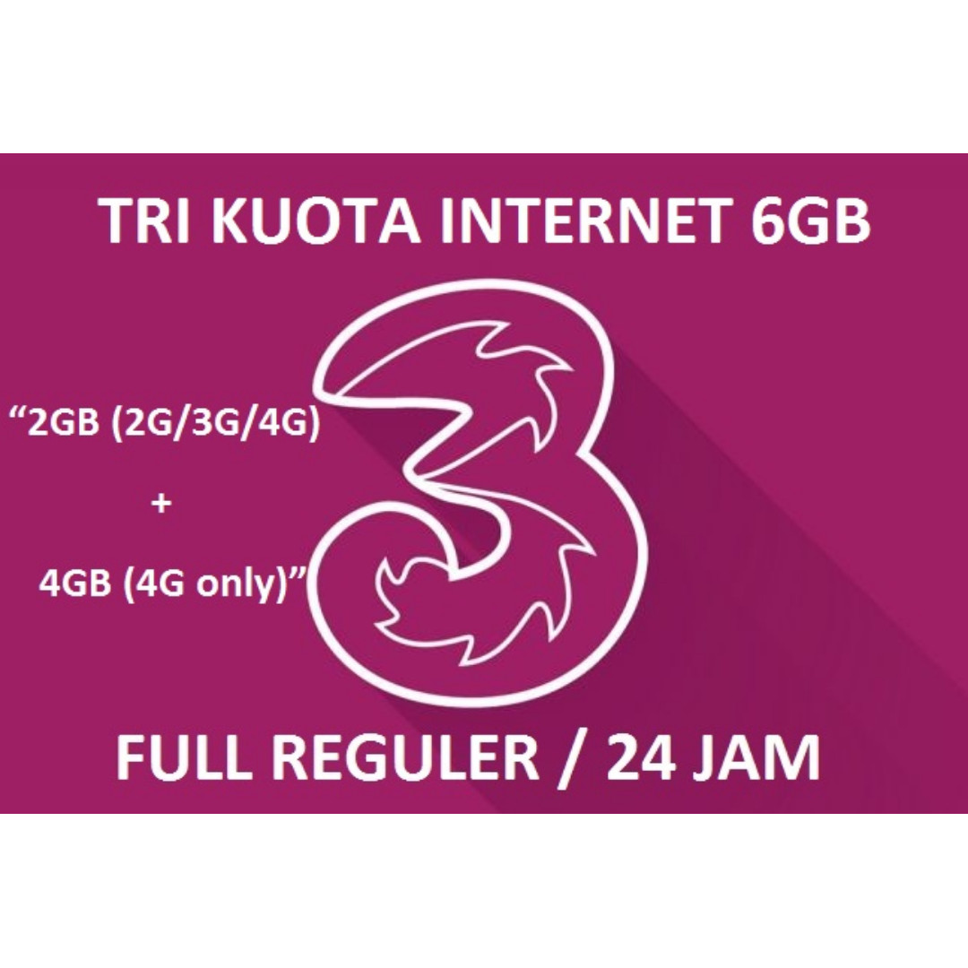 Isi Ulang Kuota++ Internet tri / three / 3 - 6GB 4G LTE