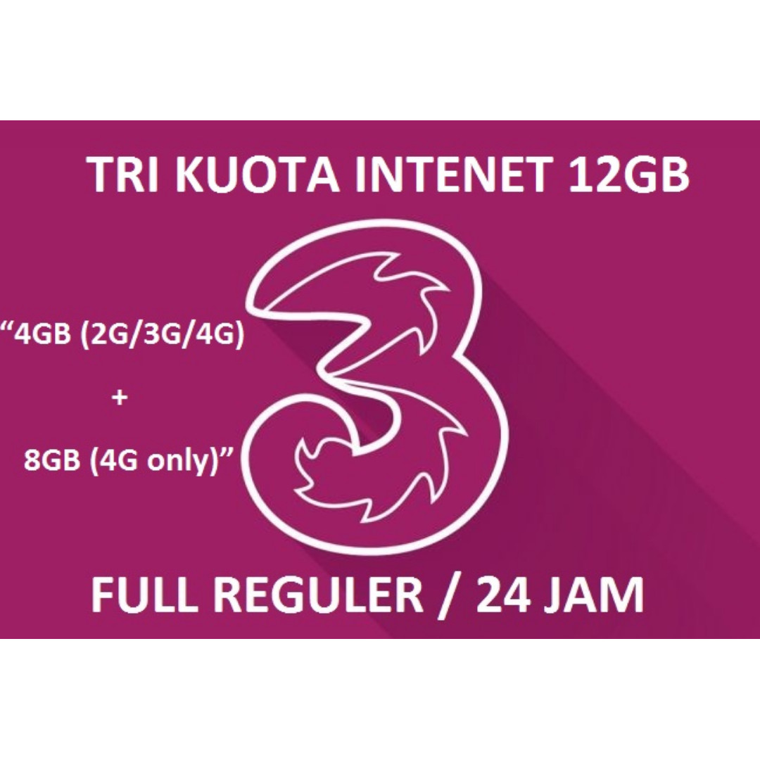 Isi Ulang Kuota++ Internet tri / three / 3 - 12GB 4G LTE