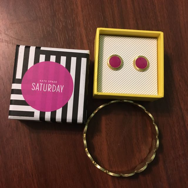 Kate Spade Bracelet And Earring Dot Pink And Purple