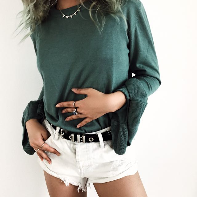 Khaki Top With Flare Arms