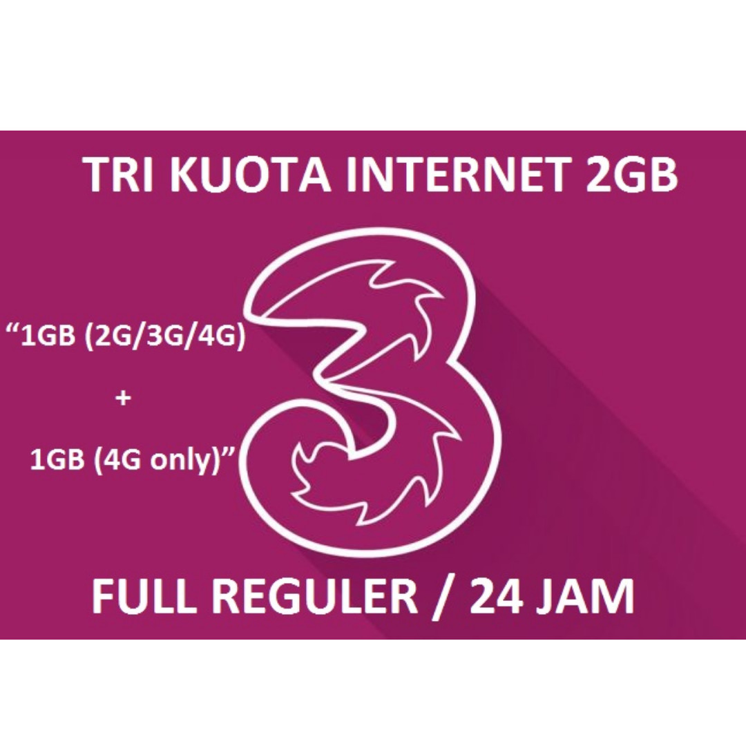Isi Ulang Kuota++ Internet tri / three / 3 - 2GB 4G LTE