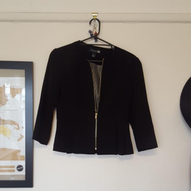 Ladies 12 Forever New Black Peplum Jacket