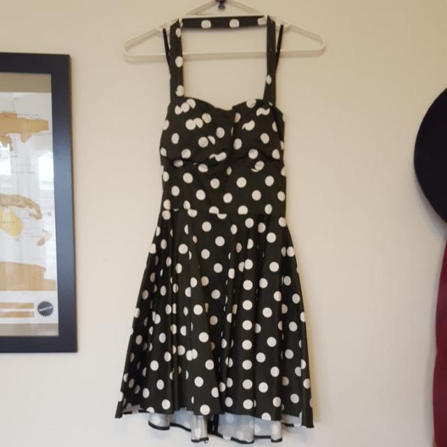 Ladies 12 Halter Neck Polka Dot Flare Dress