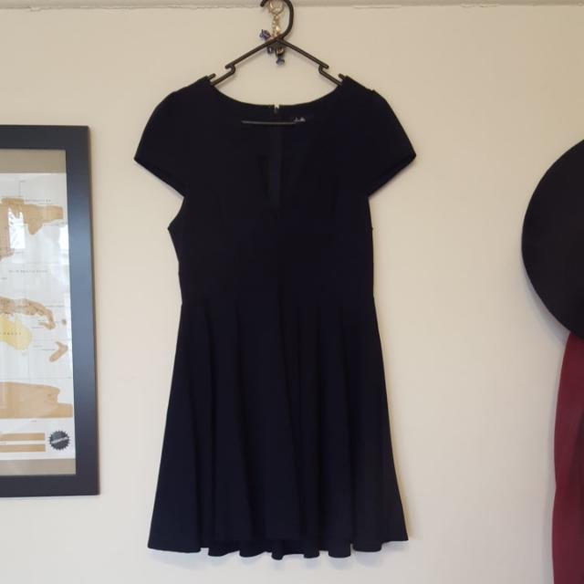 Ladies 14 Dotti Navy Plunge Midi Dress