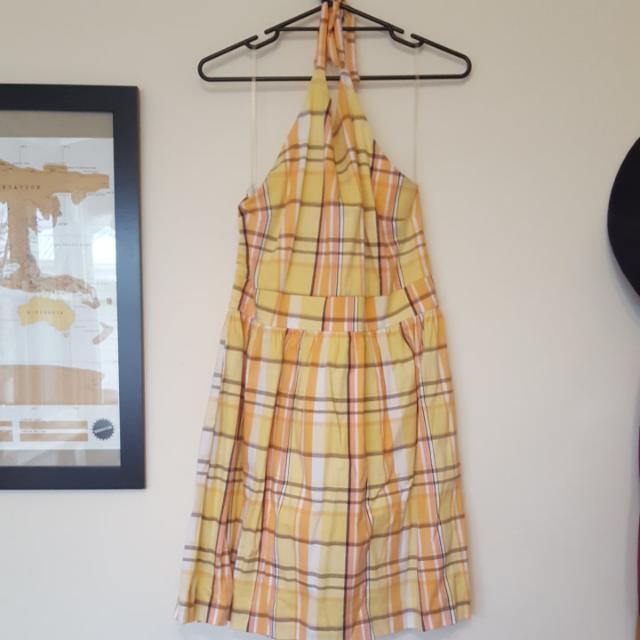 Ladies Size 14-16 Yellow Halter Sundress