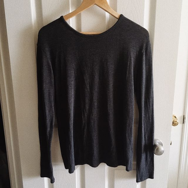 Leather Detail Light Sweater