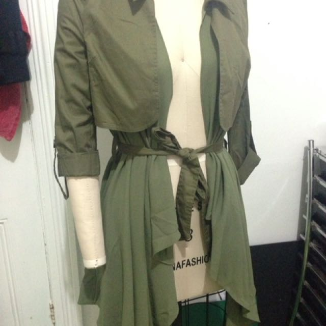 Line And Dot, Army Green Flowy Coat Size Xs