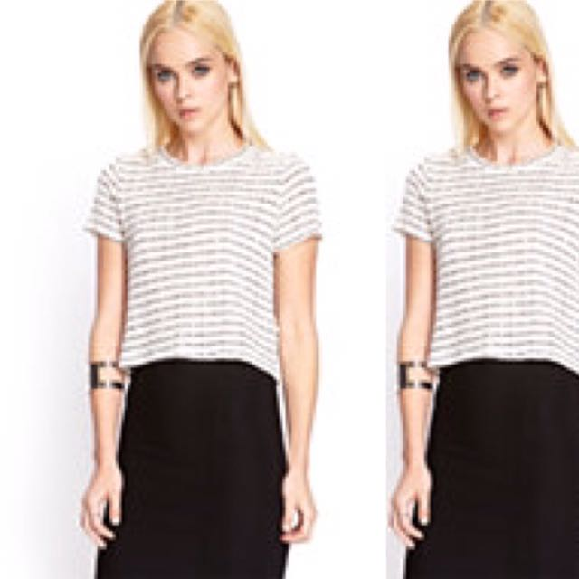 Loose Knit Striped Crop Top