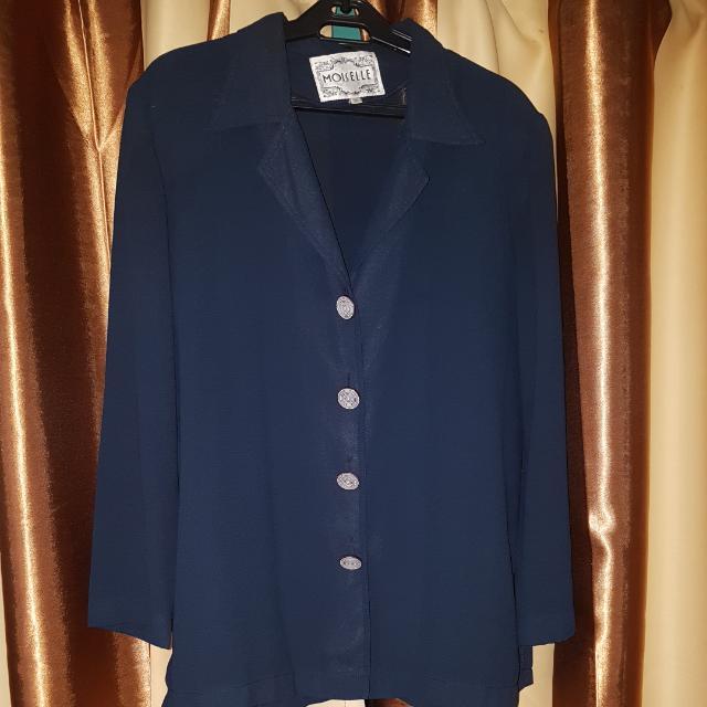 Long-Sleeved Blouse/Blazer Plus Size