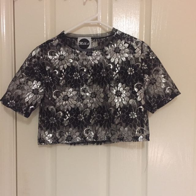 Milk It Crop Top In Metallic Floral Lace In Size S