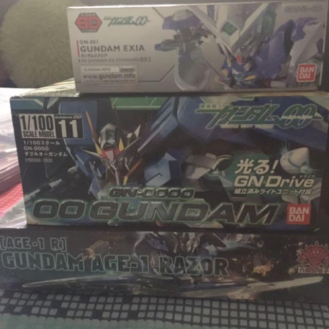 NG 1/100 00 Gundam, SD Exia And HG 1/144 Gundam Age-1